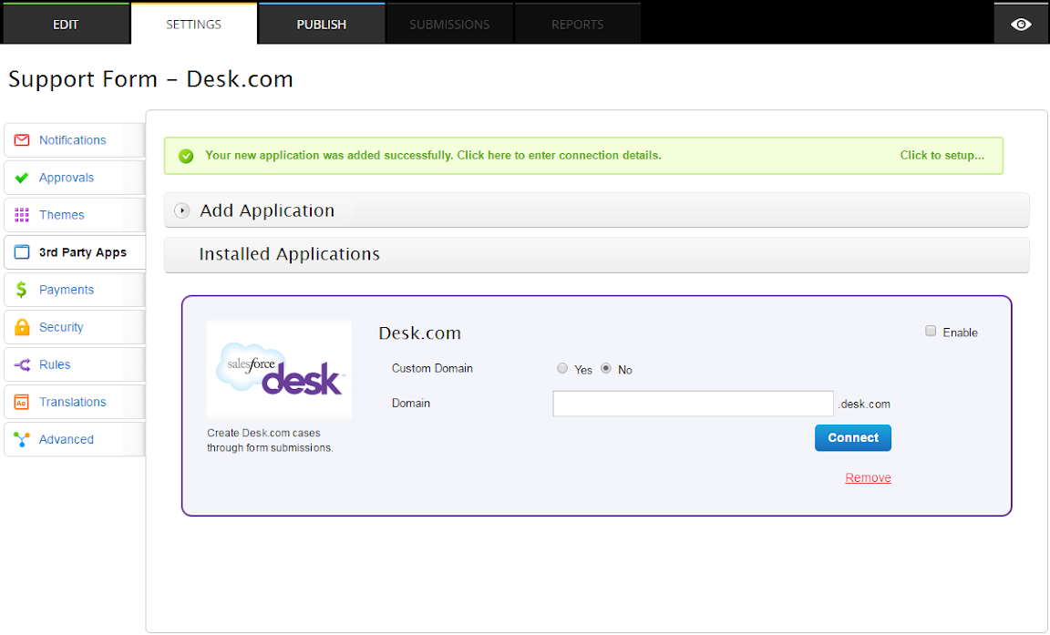 desk.com form integration