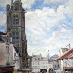 Musée de Pontoise : Ludovic Piette; Le marché aux légumes, Pontoise, place du Petit Martroy, 1876