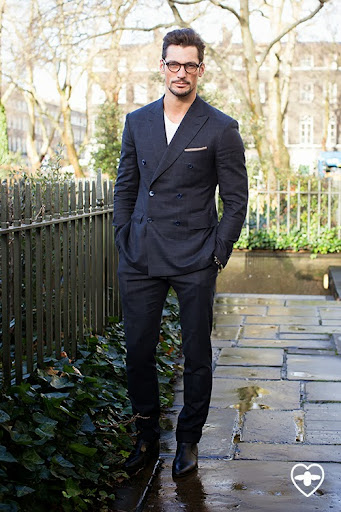 David Gandy; Model; Brioni suit; Reiss pocket sq; Bailey Nelson glasses; Daniel Roth shoes;