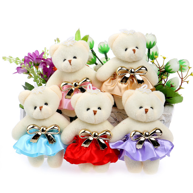 Lovely Cute Hat Baby Girl Teddy Bear Mini Model Bow Design Plush Toys For  Wedding Party