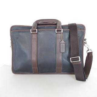 Coach Blue and Brown Leather Attache