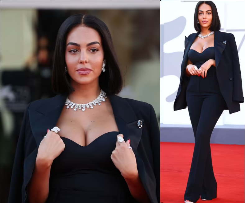 Football Star, Cristiano Ronaldo's partner Georgina Rodriquez puts on a busty display in a corset as she steps out for Venice Film Festival 2021 (photos)