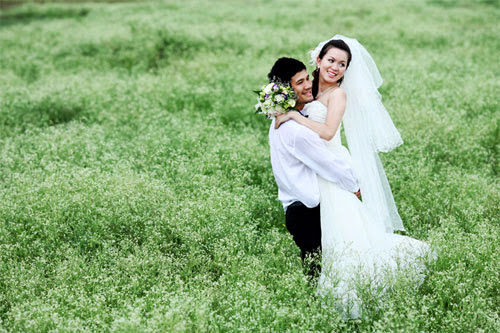 ảnh cưới hoa cải trắng
