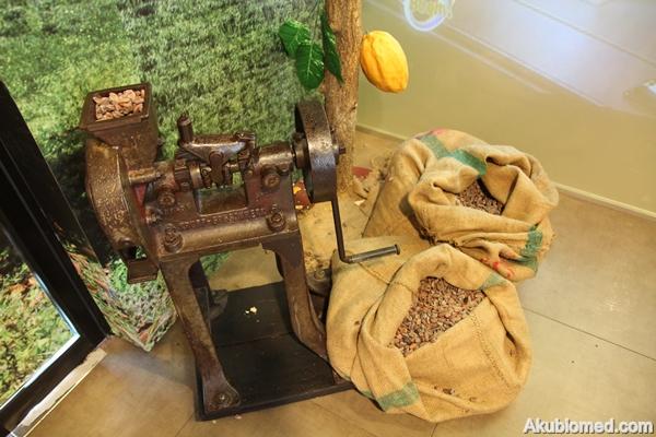 mesin pengisar dan biji koko yang telah kering
