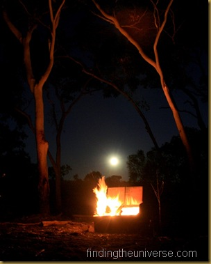 Moon rise over the campfire