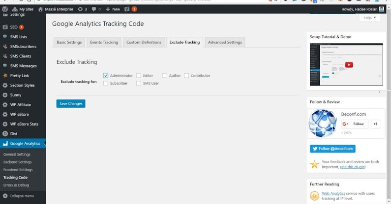 Google Analytics Dashboard for WP Tracking Code Exclude Tracking