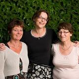 de gauche à droite , Valérie de Blanchard quilteuse dynamique et efficace, Cathy Picaut et Joëlle Jean qui nous a si gentiment ouvert les portes de Trimoulet.
