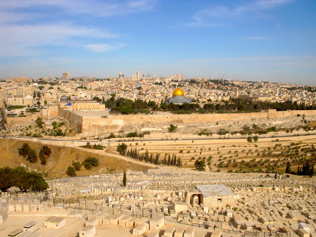 View of the Old City of Jerusalem from the Mount of Olives