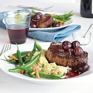 Seared Steaks with Red Wine-Cherry Sauce.