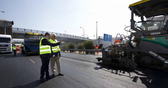 Obras de asfaltado de la M-45 entre la R-3 y la A-4