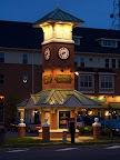 Corn Hill Landing clock tower at dusk