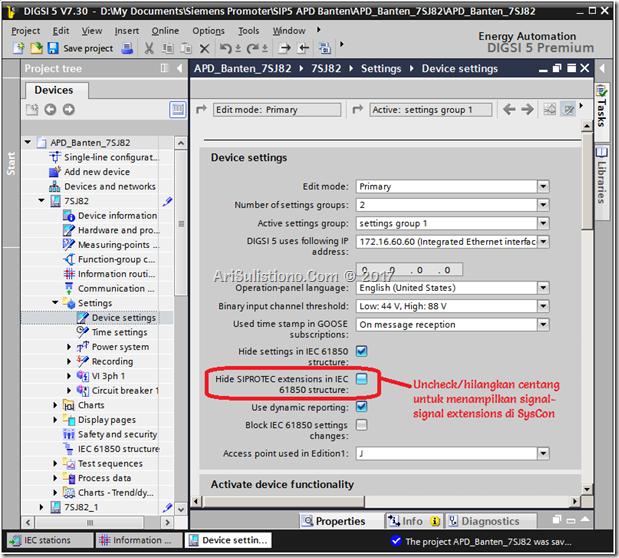 Uncheck SIPROTEC extensions IEC 61850 untuk menampilkan arus gangguan di System Configurator IEC 61850 - DIGSI 5