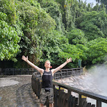 here I am enjoying the sun breaking through and the hot springs mist in Beitou, T'ai-pei county, Taiwan