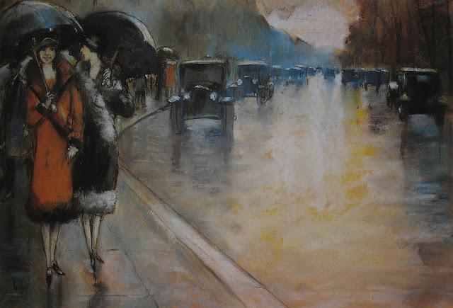Lesser Ury – Berliner Straße im Regen