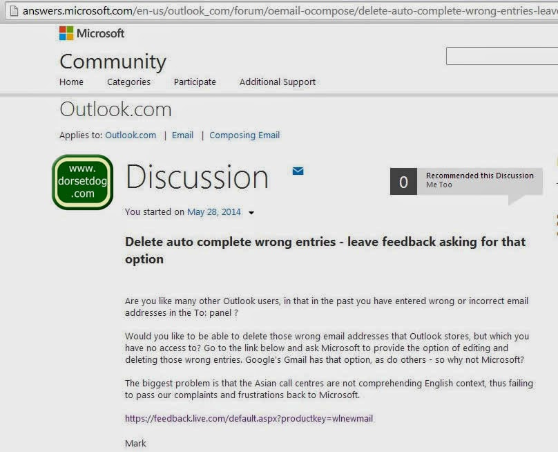 Discussion on the deletion of incorrect email addresses in Outlook.com