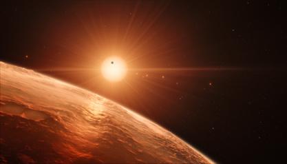 ilustração da vista da superfície de um dos planetas do sistema TRAPPIST-1