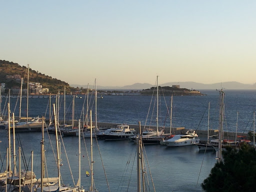 View across the Kusadasi marina to Pigeon Island