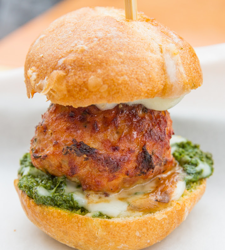 close-up photo of a Chicken, Pesto, Mozzarella Slider