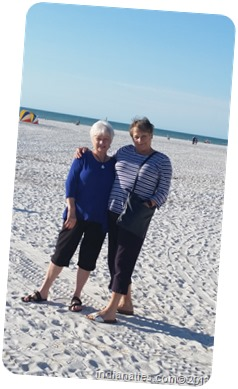 Nancy and Karen on the beach in Clearwater, Florida, February 2016.  We enjoyed music, drinks, snacks and great conversation at a spot on the beach where we have gone in times past.