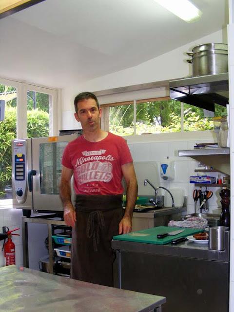 Chef Fréd Sanchez in his restaurant kitchen, Azay le Rideau, Indre et Loire, France. Photo by Loire Valley Time Travel.