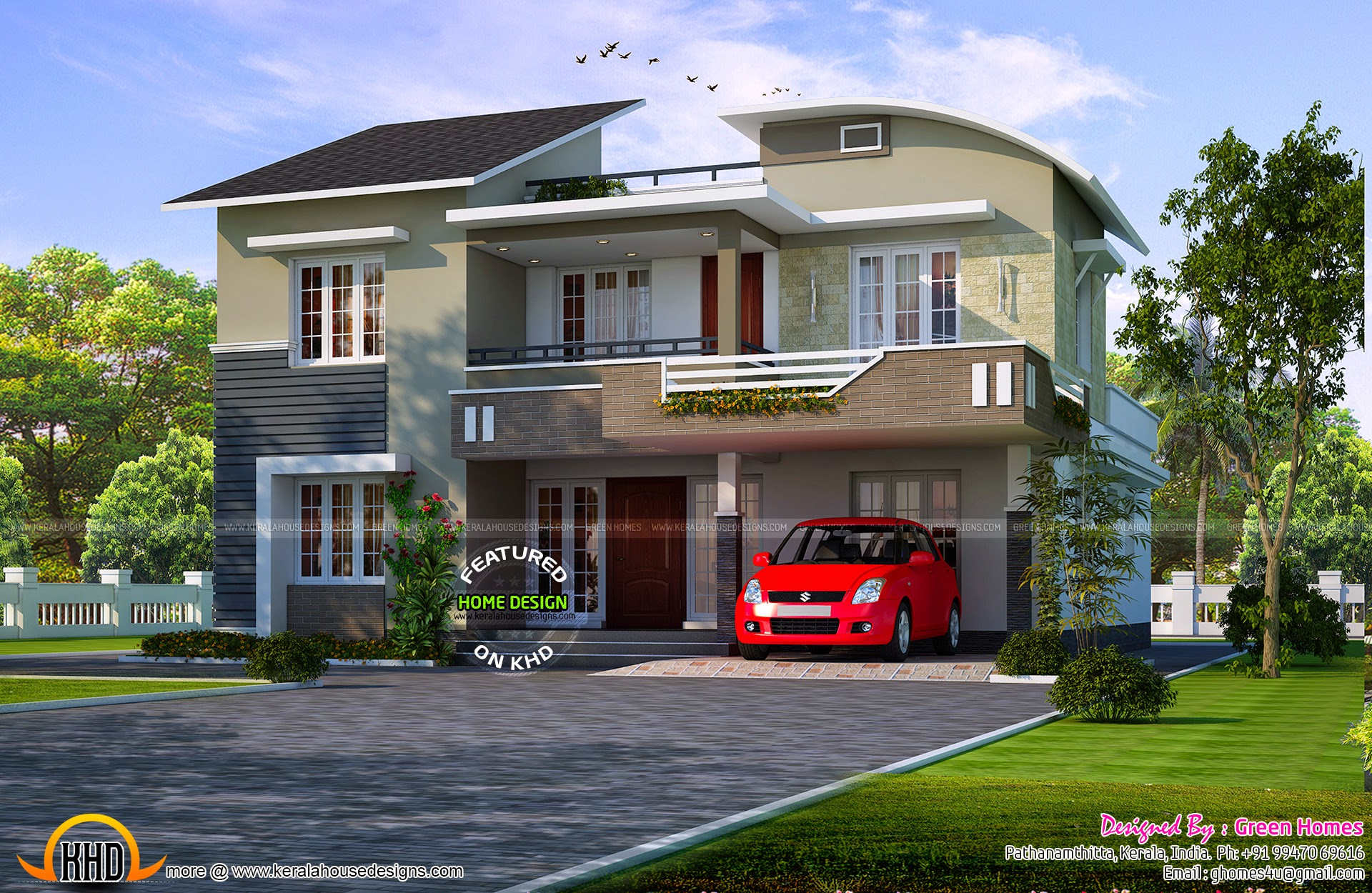 Modern mix double storied house kerala home design and for Kerala house design double floor