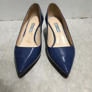 Prada Blue Patent Leather Kitten Heels