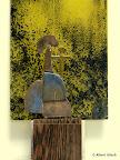 """Andachtsbild, Modell, """"Maria Mutter und Königin"""" Holz, Bronze bemalt, Echtantikglas bemalt 2001/09"""