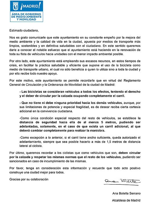 Circular falsa del Ayuntamiento de Madrid