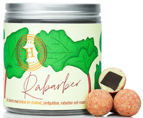 Rabarber – lakrits med vit choklad, jordgubbar, rabarber & rosor - Haupt Lakrits