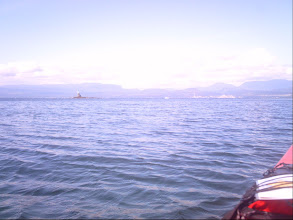 Photo: View of Powell River across Malaspina Strait from Blubber Bay.