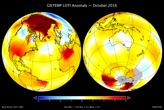 A map of the October 2016 LOTI (land-ocean temperature index) anomaly, showing that the Arctic region was much warmer than average. The United States and North Africa were also relatively warm. The largest area of cooler temperatures stretched across Russia. Graphic: Gavin Schmidt / NASA / GISS