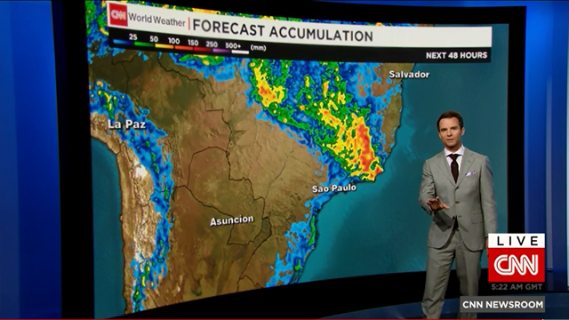 Screenshot of CNN's Derek Van Dam reporting on the storms in Sao Paulo, Brazil which caused severe flooding, 12 March 2016. The screen shows the forecast for rainfall accumulation over the next two days. Van Dam says the event has 'The fingerprints of climate change all over this particular event'. Photo: CNN