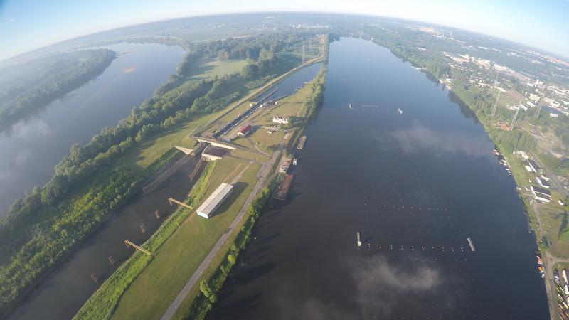 wynajem drona zdjęcia z lotu ptaka z drona Kajakowy i wioślarski tor regatowy w Bydgoszczy z lotu ptaka