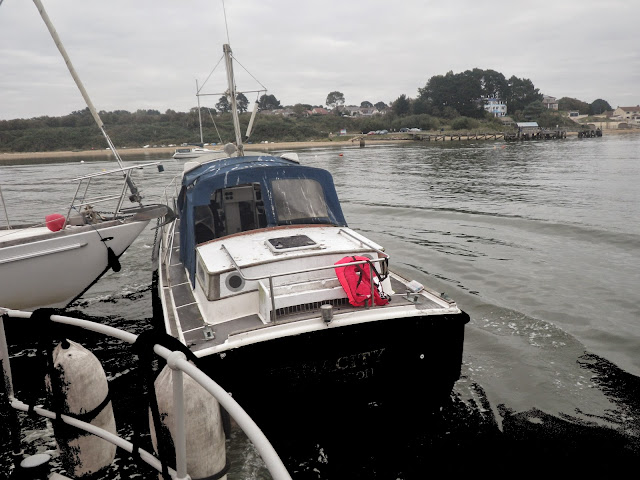 Poole ALB alongside a vessel that was adrift and against another vessel on a mooring off Lake Pier, Poole Harbour. 27 September 2014 Photo: RNLI Poole/Anne Millman