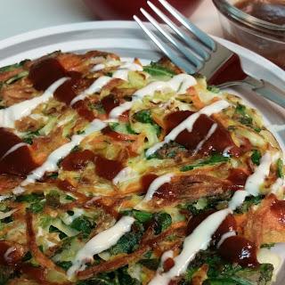 Okonomiyaki (Japanese Pancakes) with Homemade Japanese Mayonnaise