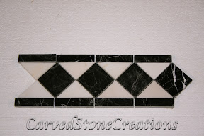Black, Border, Flooring, Flooring & Mosaics, Interior, Listello, Marble, Mosaic, Natural, Polished, Stone, White