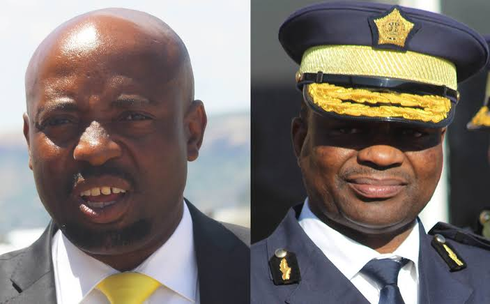 Lesotho police minister and Police commissioner. PHOTO | SABC