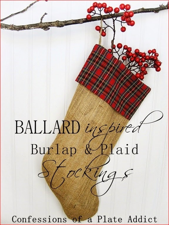 CONFESSIONS OF A PLATE ADDICT Ballard Inspired Burlap and Plaid Stockings