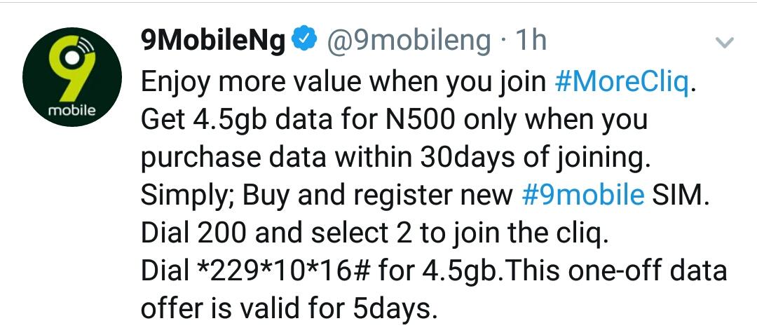9mobile (Etisalat) 500 Naira For 4 5GB Data Plan