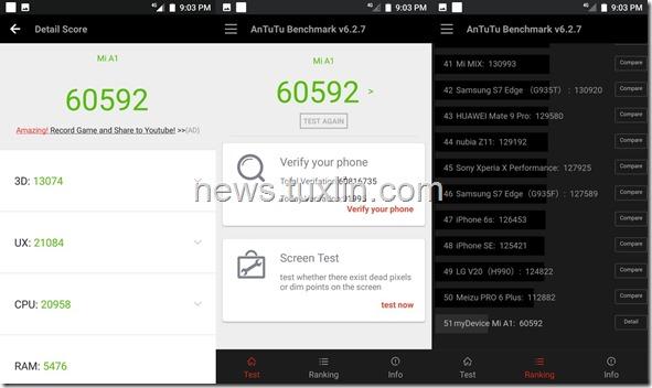 Benchmark Xiaomi Mi A1 AnTuTu v6