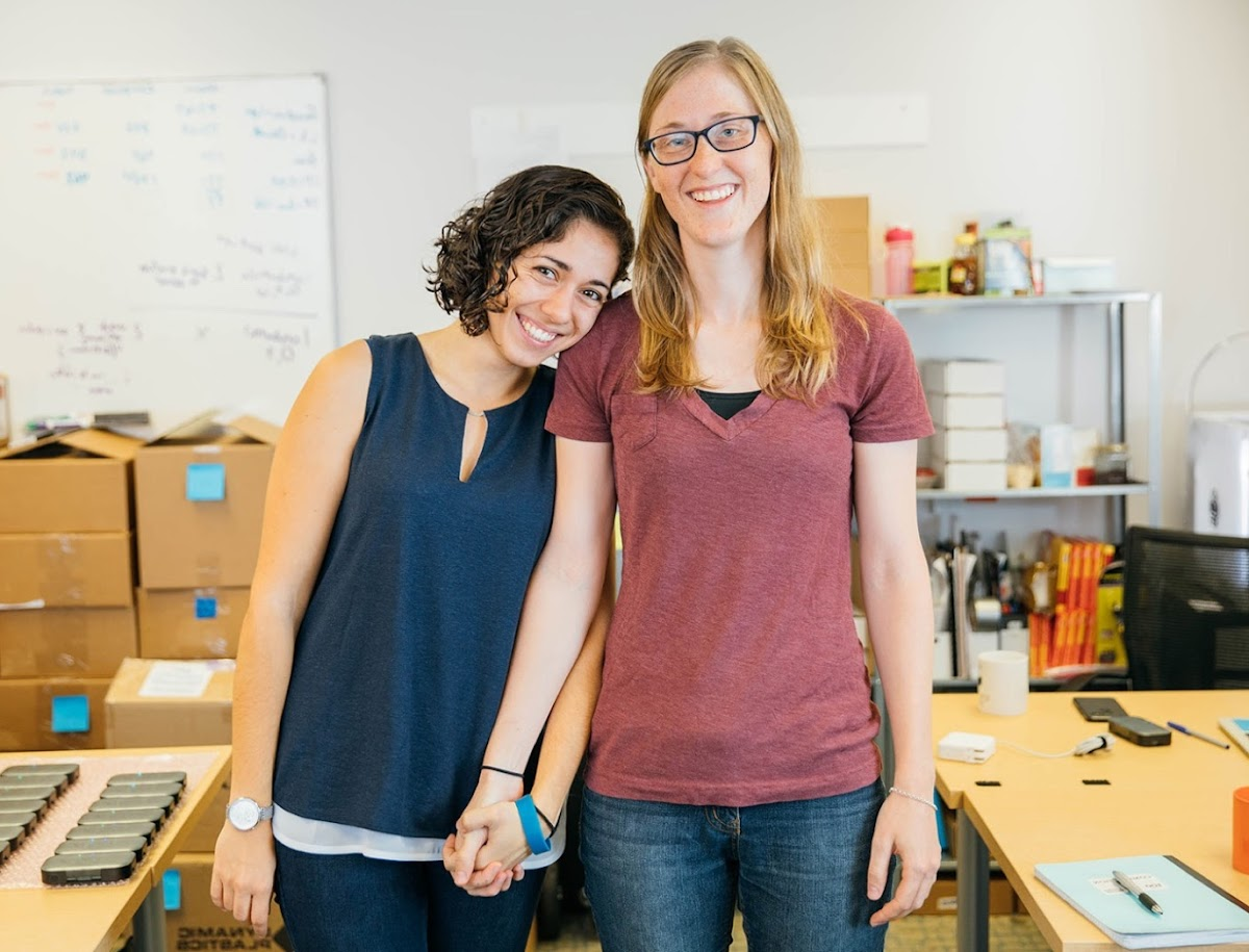 Ivonna Dumanyan and Gabrielle Levac, Co-Founders of Fathom AI, stand for a photo in their office.