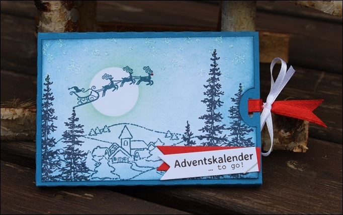 Adventskalender to go Stampin Up Santa Sleigh Rudolph Winter Scene Dorf Weihnachten 02