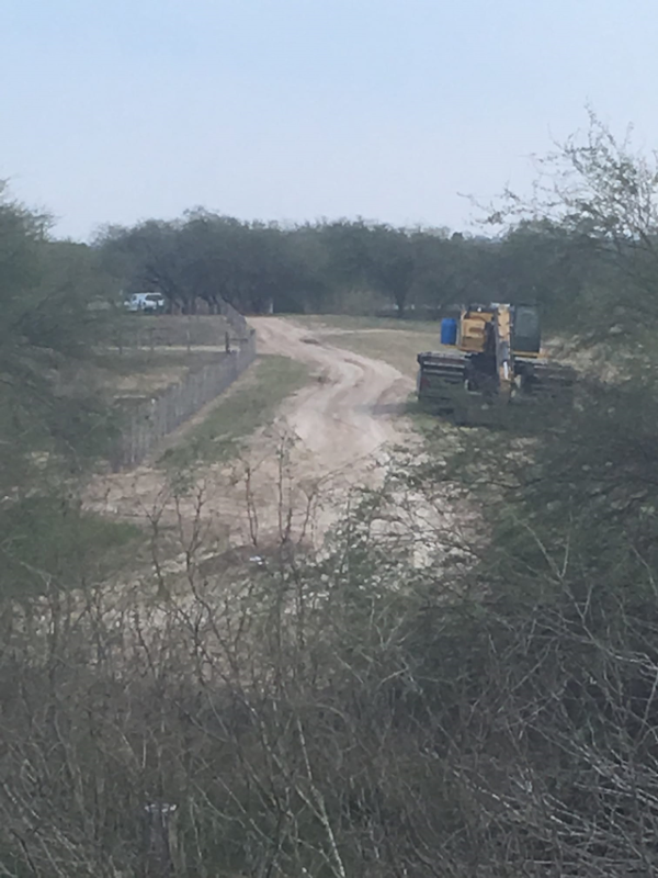 Eight law enforcement units parked around the National Butterfly Center on 3 February 2019, as the first excavator rolled in and parked on land immediately east of us. Mission PD Officer Cabral was parked on our private property. He said effective tomorrow we will have NO ACCESS to our own land south of the levee. He said, 'Effective Monday morning, it is all government land,' and they have orders to prohibit anyone from stepping foot on the levee, which sits on our private property. We know this is illegal and will be taking legal action tomorrow. Photo: National Butterfly Center