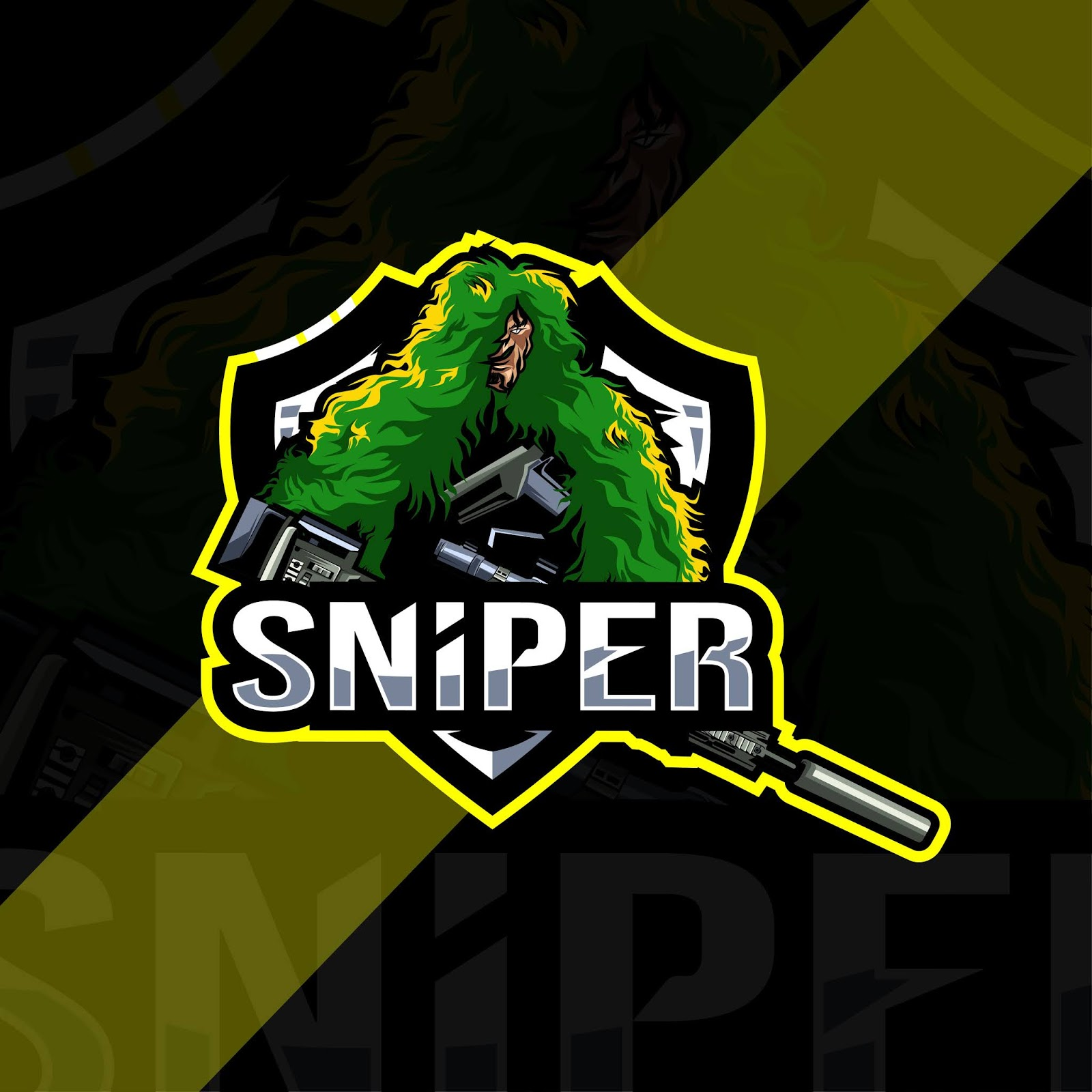Sniper Mascot Logo Esport Template Free Download Vector CDR, AI, EPS and PNG Formats