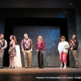 "Paul Dederick, Jennifer Van Iderstyne, Tim Orcutt, Cristine M. Loffredo, Susan Katz and Marty O'Connor in ""Foreplay: or the Art of the Fugue"" as part of THE IVES HAVE IT - January/February 2012.  Property of The Schenectady Civic Players Theater Archive."