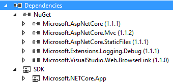 "Carpeta ""Dependencies"" de un proyecto targeting .NET Core en el explorador de soluciones de Visual Studio"