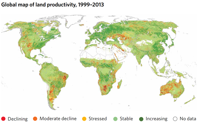 Global land productivity, 1999–2013. The map shows five classes of persistent land productivity trajectories over the period 1999–2013. Land productivity is an essential variable for detecting and monitoring active land transformations typically associated with land degradation processes. It can be expressed as an equivalent of terrestrial net primary productivity per unit of area and time, and reflects the overall capacity of land to support biodiversity and provide ecosystem services. Graphic: UNSD / UNDESA