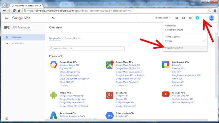 Web Push Notification Google Dev Console Project Info Menu