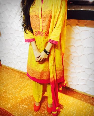 Biba Printed Yellow Suit Set
