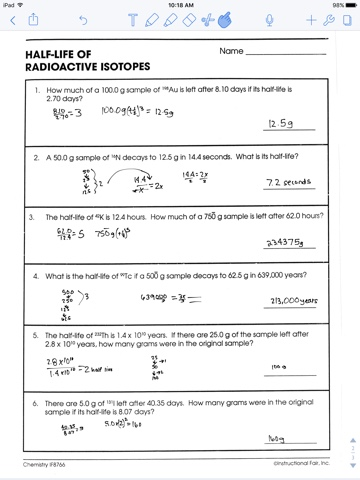 Nuclear Decay Half Lives Worksheet
